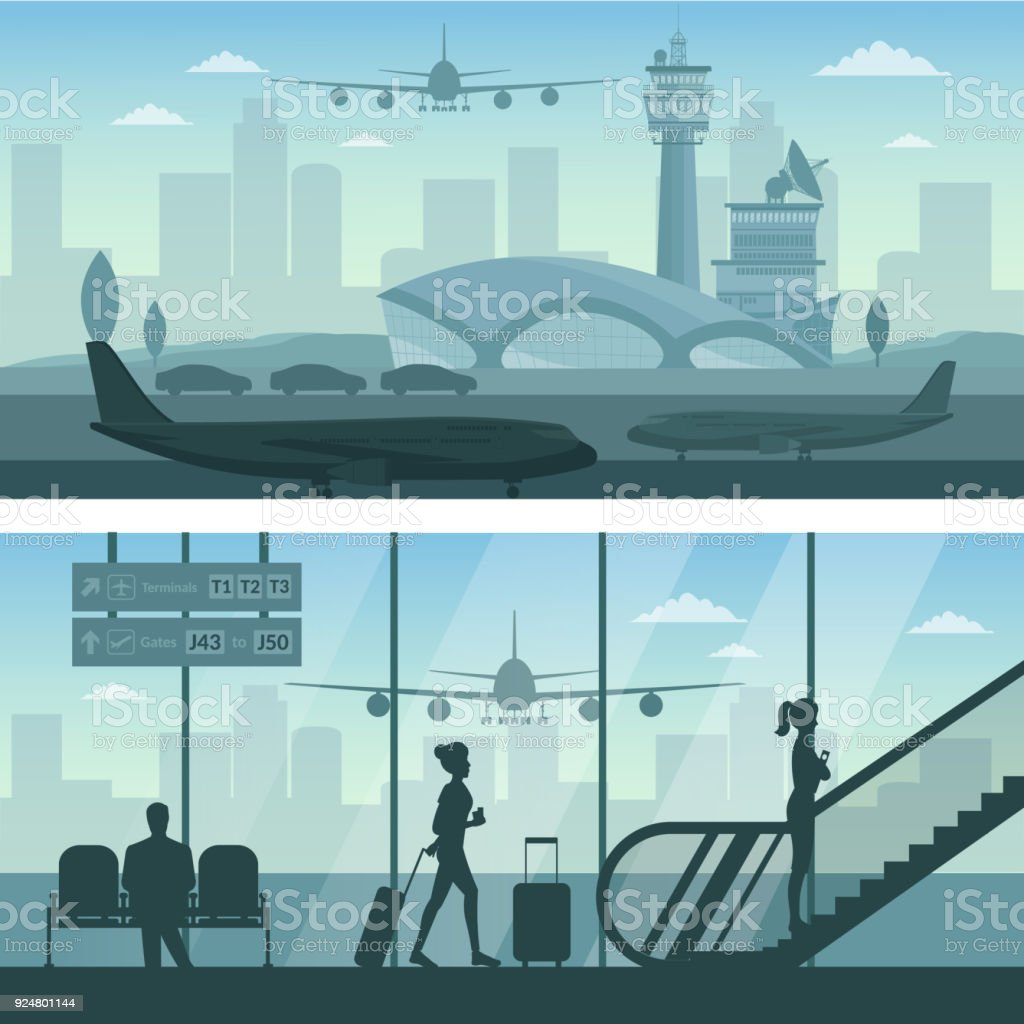 Objets d'infographie d'avion aéroport et transport - Illustration vectorielle