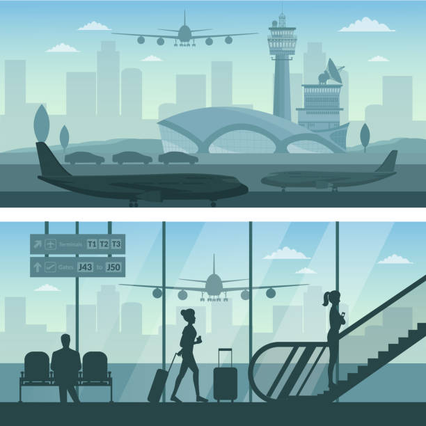 airport and transportation airplane infographics objects - airport stock illustrations