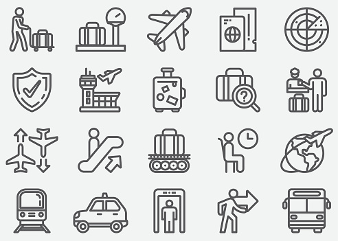 Airport and Transportation Line Icons