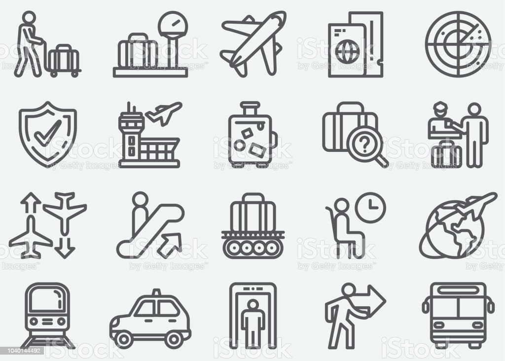 Airport and Transportation Line Icons vector art illustration