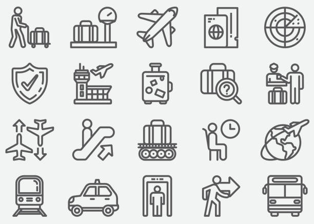 airport and transportation line icons - airport stock illustrations