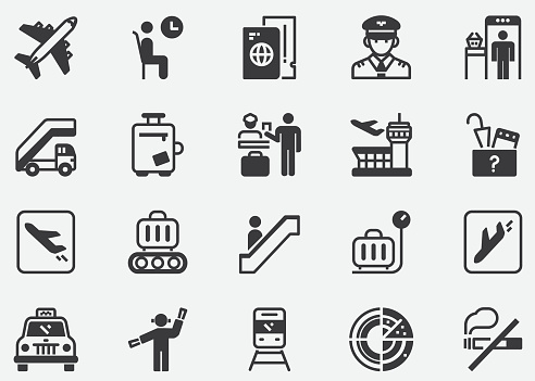 Airport and Transportation Pixel Perfect Icons