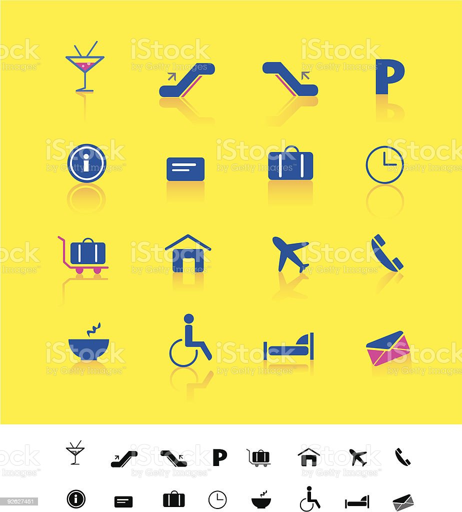 Airport and travel iconset royalty-free stock vector art
