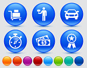 Airport Arrival Process Icon SetThe icons are white and are placed on a round blue vector buttons. The buttons have a sight shadow and the background is light. The composition is simple and elegant. The vector icons are the most prominent part if this illustration. There are eight alternate button variations on the right side of the image. The alternate colors are orange, red, purple, maroon, light blue, green, teal and indigo.