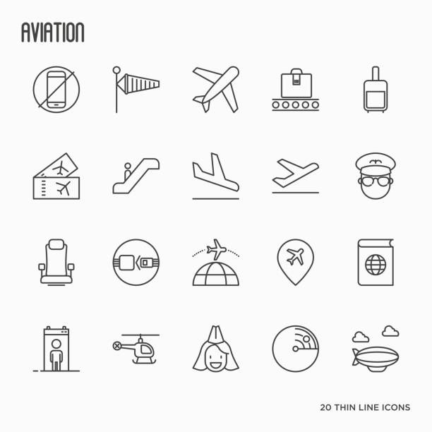 Airport, aviation and tourism simple thin line icons. Vector illustration. vector art illustration