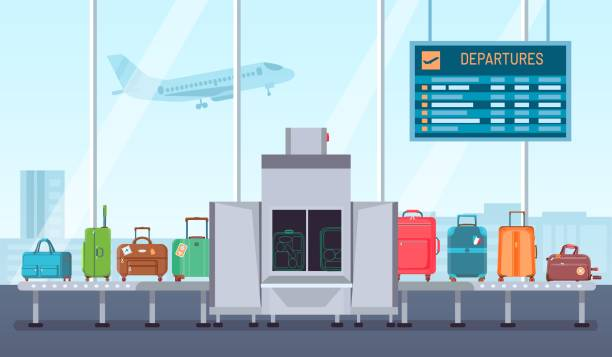 Airport baggage scanner. Conveyor belt with luggage and inspection control terminal. Security check for bags and suitcases vector concept Airport baggage scanner. Conveyor belt with luggage and inspection control terminal. Security check for bags and suitcases vector concept. Illustration luggage airport security, check and scanner airport borders stock illustrations