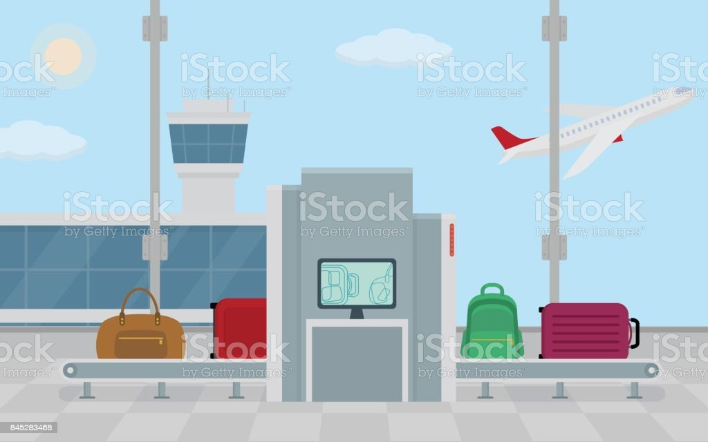 Airport Baggage Security Scanner Stock Vector Art & More Images of