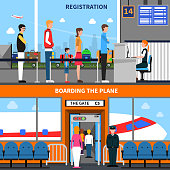Airport horizontal banners set with registration and boarding symbols flat isolated vector illustration