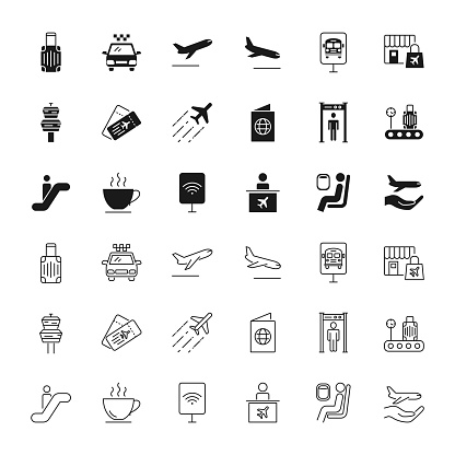 Airport black silhouettes and outline icons set