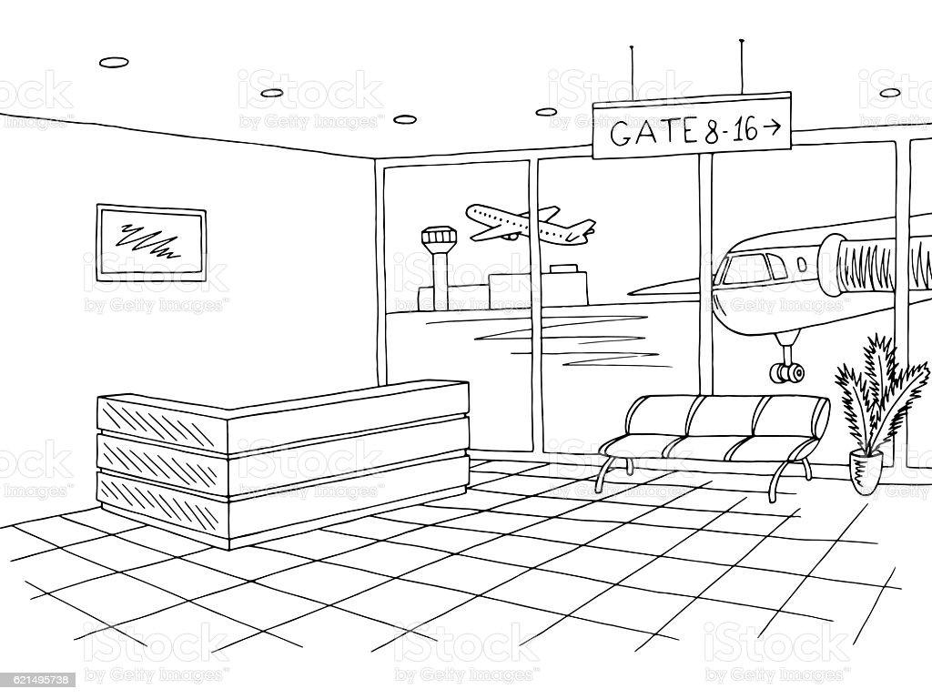 Airport black white interior graphic sketch illustration vector airport black white interior graphic sketch illustration vector – cliparts vectoriels et plus d'images de architecture libre de droits