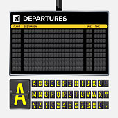 Airport Board Vector. Mechanical flip airport scoreboard. Black airport and railway timetable departure or arrival. Destination airline board abc. Vector airport board isolated