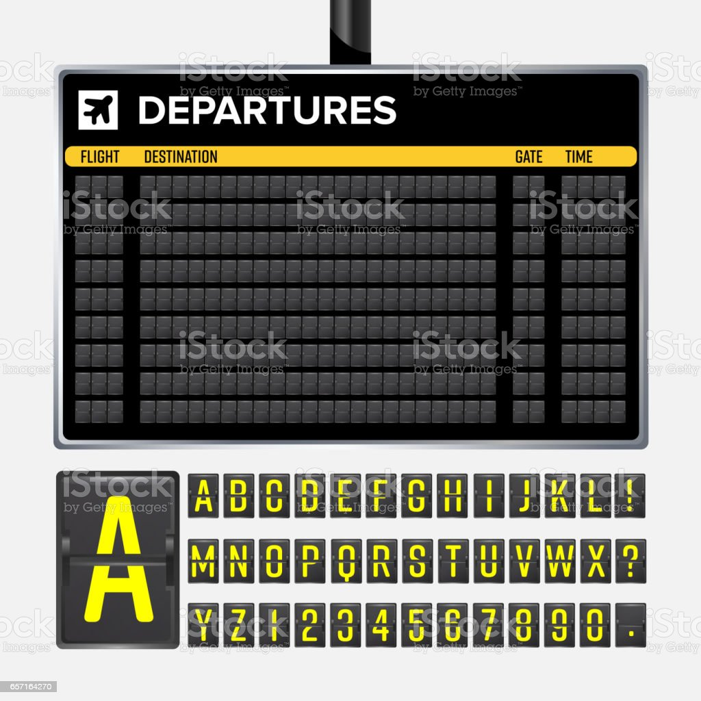 Airport Board Vector. Mechanical flip airport scoreboard. Black airport and railway timetable departure or arrival. Destination airline board abc. Vector airport board isolated vector art illustration