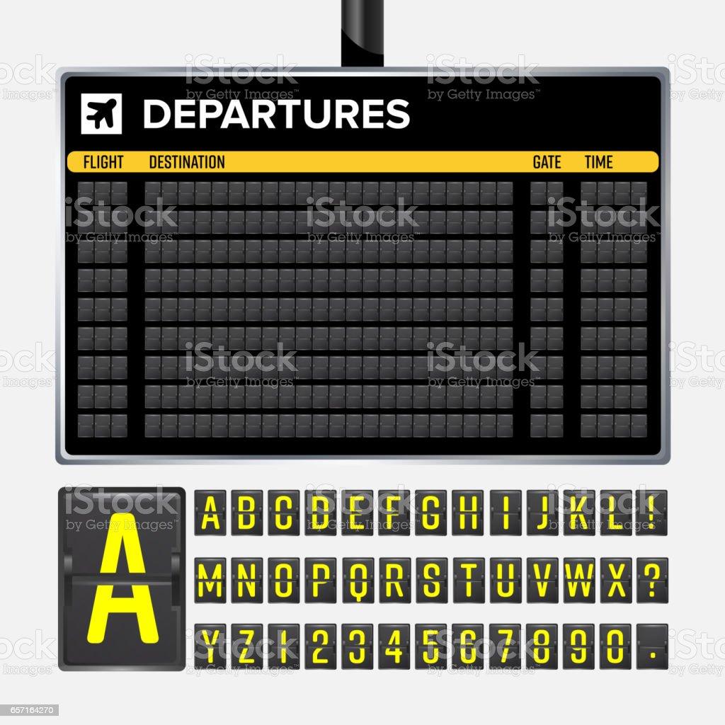 機場管理局向量。機械翻轉機場記分牌。黑色的機場和鐵路時程表出發或抵達。目的地航空公司董事會 abc。孤立的向量機場董事會向量藝術插圖