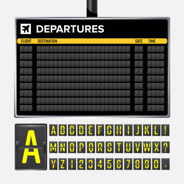 airport board vector. mechanical flip airport scoreboard. black airport and railway timetable departure or arrival. destination airline board abc. vector airport board isolated - airport stock illustrations