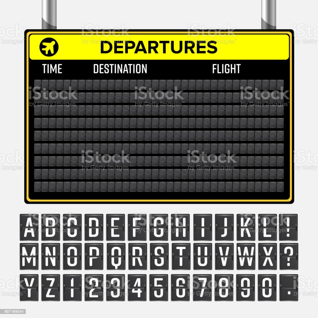 Airport Board Vector. Mechanical Timetable Information Alphabet. Aalog Font – Vektorgrafik