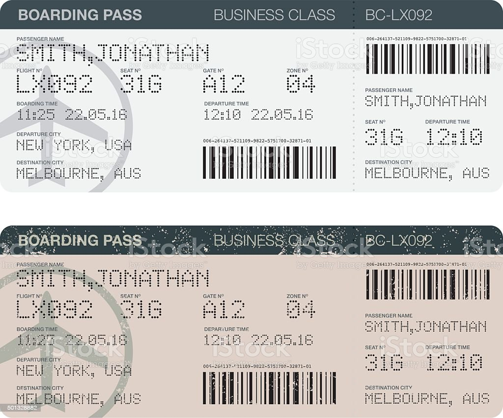 Airport Boarding Passes Icon Set vector art illustration