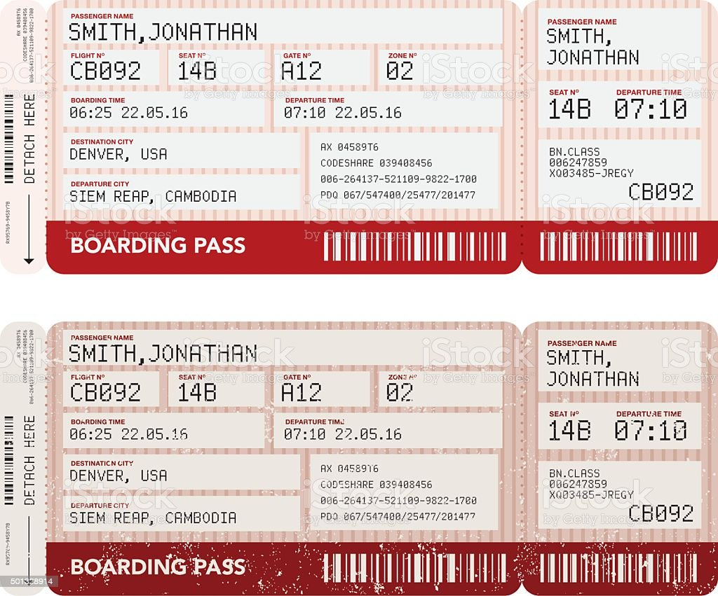 Airport Boarding Passes Icon Set