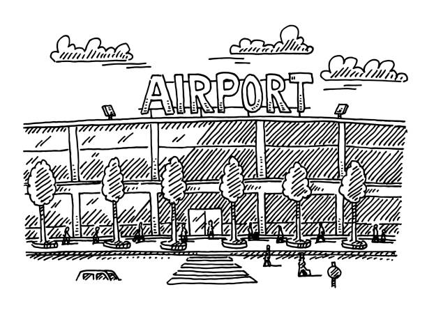 Airport Building Drawing Hand-drawn vector drawing of an Airport Building. Black-and-White sketch on a transparent background (.eps-file). Included files are EPS (v10) and Hi-Res JPG. airport drawings stock illustrations