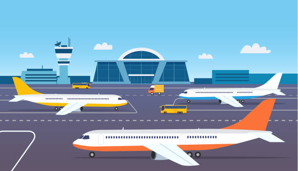 Airport building exterior with buses and airplanes. Vector flat style illustration. Airport building exterior with buses and airplanes. Vector flat style illustration. airport backgrounds stock illustrations