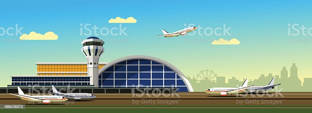 airport building vector illustration - ilustración de arte vectorial