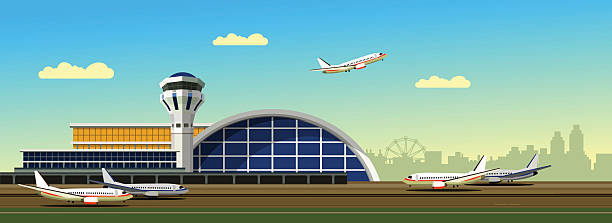 airport building vector illustration vector illustration of the airport building on city background in retro style and colors of the horizontal composition airport stock illustrations
