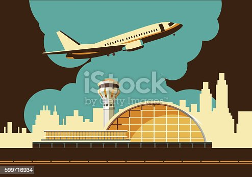 vector illustration of the airport building on city background in retro style and colors