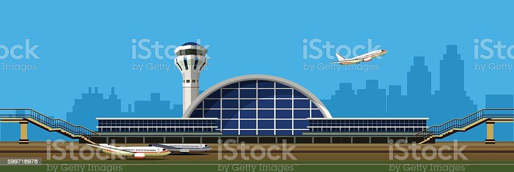 airport building vector illustration vector art illustration
