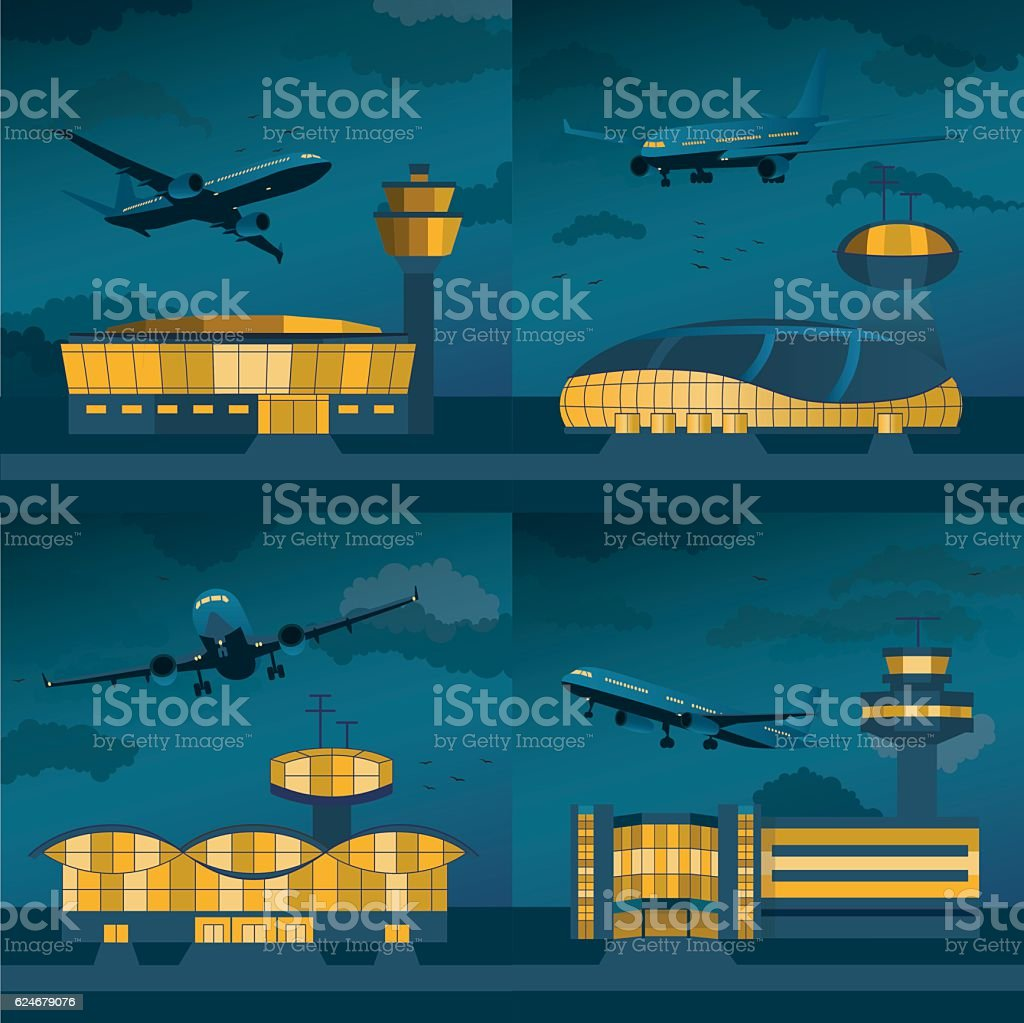 Airport building with control tower. Vector vector art illustration