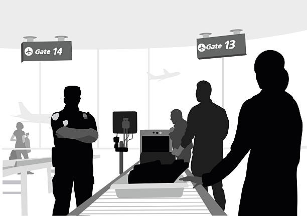 Airport Carry On A vector silhouette illustration of people placing their belonings on a convayer belt going through the scanning machines at an airport.  A TSA guard stans menicingly. airport silhouettes stock illustrations