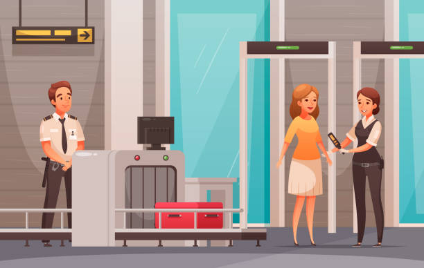 Airport Cartoon Background Woman character and her luggage being checked in airport cartoon background vector illustration security staff stock illustrations