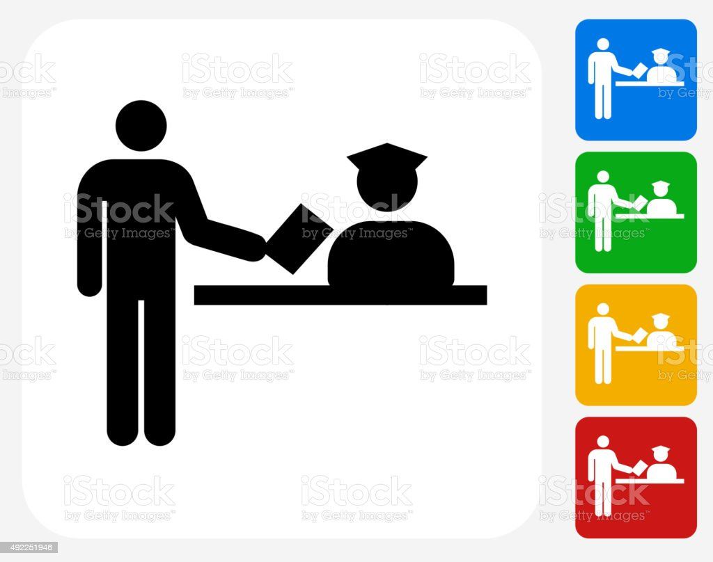 Airport Check In Icon Flat Graphic Design vector art illustration