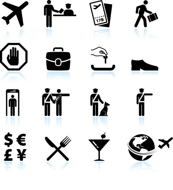 Airport Check in process and business travel vector icon set vector art illustration