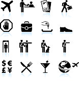Airport Check in process and business travel vector icon set
