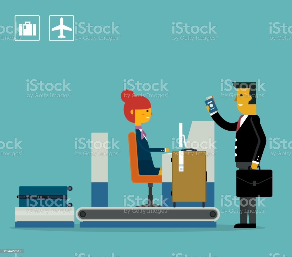 Airport Check-In - Businessman vector art illustration