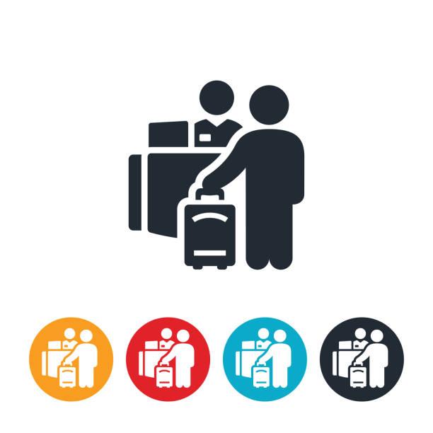 airport simgesini iade etme - hotel reception stock illustrations