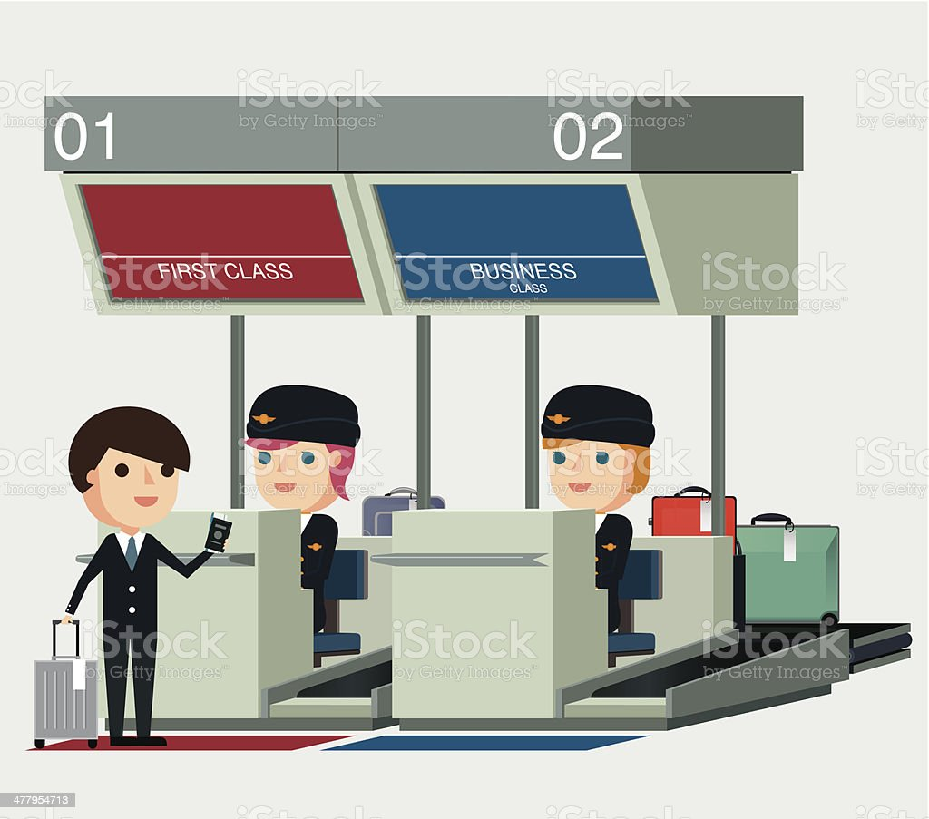 Airport Check-In - Illustration vector art illustration