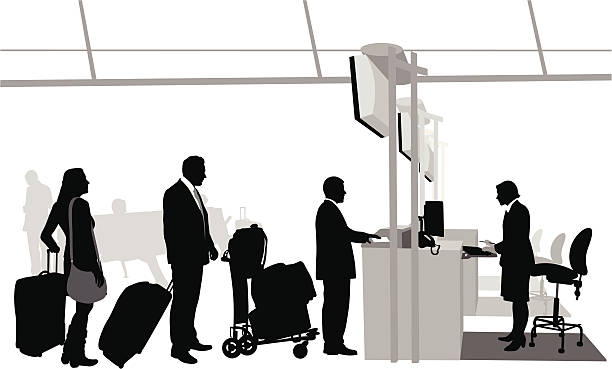 Airport CheckIn Vector Silhouette A-Digit airport silhouettes stock illustrations