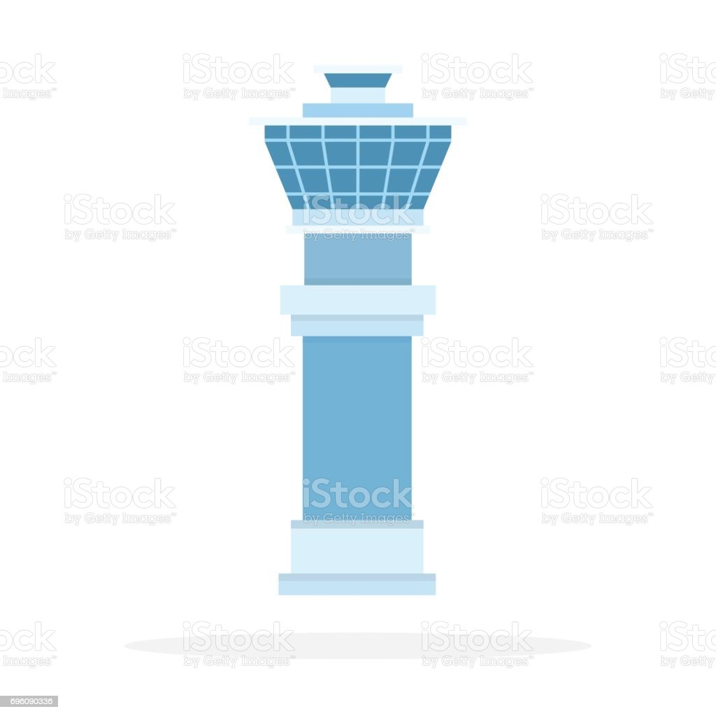Airport control room vector flat material design isolated object on white background. vector art illustration