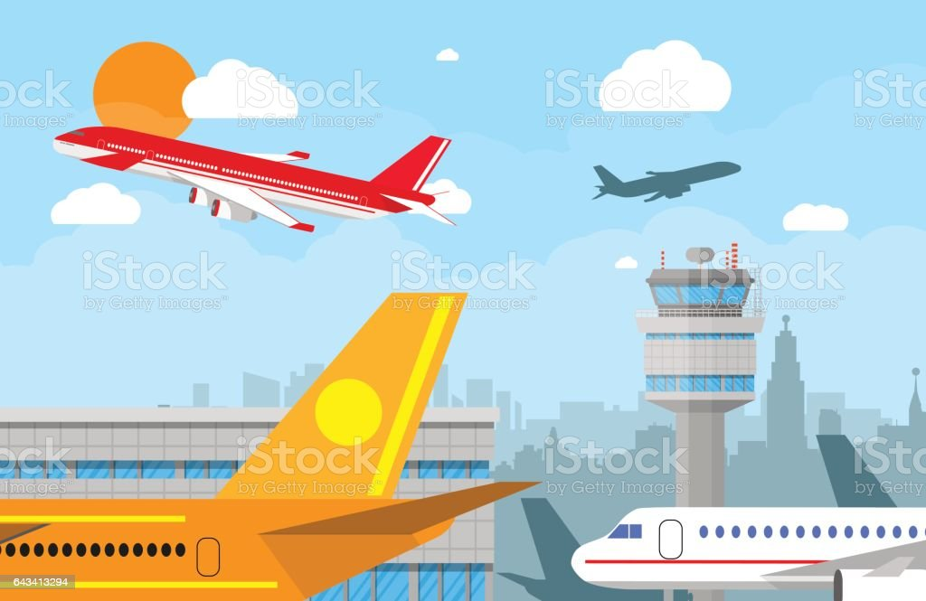 Airport control tower and flying airplane vector art illustration