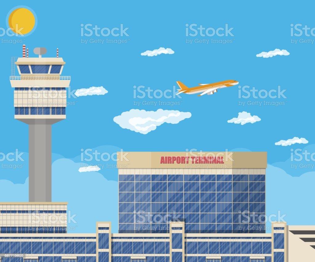 Airport control tower, terminal building vector art illustration