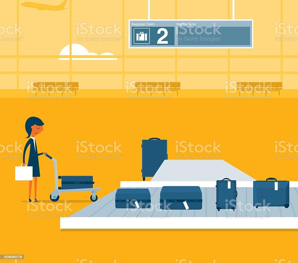 Airport conveyor belt vector art illustration