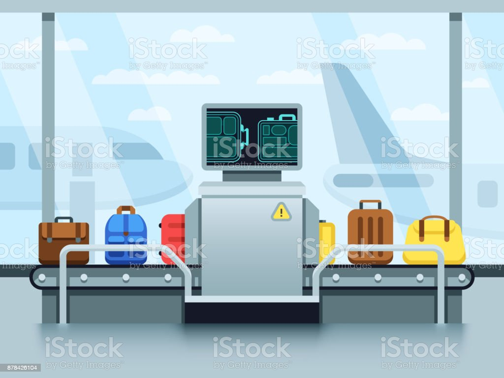 Airport conveyor belt with passenger luggage and police scanner. Terminal checkpoint vector concept vector art illustration