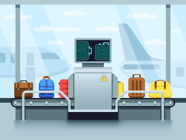 Airport conveyor belt with passenger luggage and police scanner. Terminal checkpoint vector concept Airport conveyor belt with passenger luggage and police scanner. Terminal checkpoint vector concept. Airport baggage conveyor in terminal illustration airport borders stock illustrations