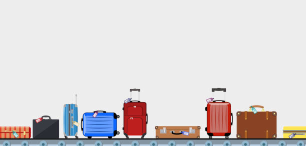 Airport conveyor belt with passenger luggage bags Airport conveyor belt with passenger luggage bags vector illustration. Airport baggage belt, luggage for travel, terminal conveyor. vector illustration in flat design airport borders stock illustrations