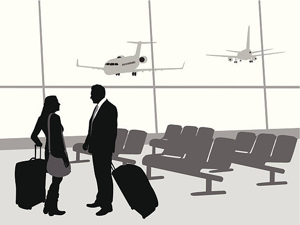 Airport Couple Vector Silhouette A-Digit airport silhouettes stock illustrations