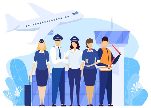 Airport crew standing together, professional airline team in uniform, people vector illustration
