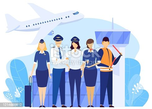 istock Airport crew standing together, professional airline team in uniform, people vector illustration 1214665812