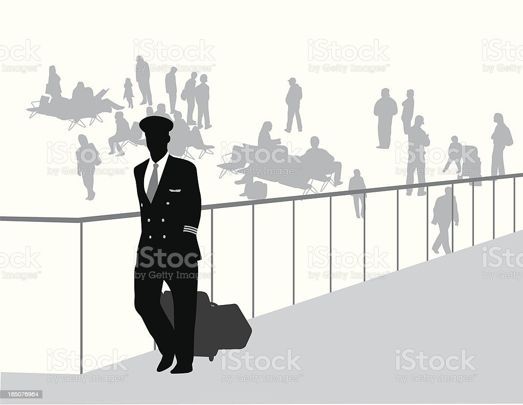 Airport Crowd Vector Silhouette royalty-free stock vector art
