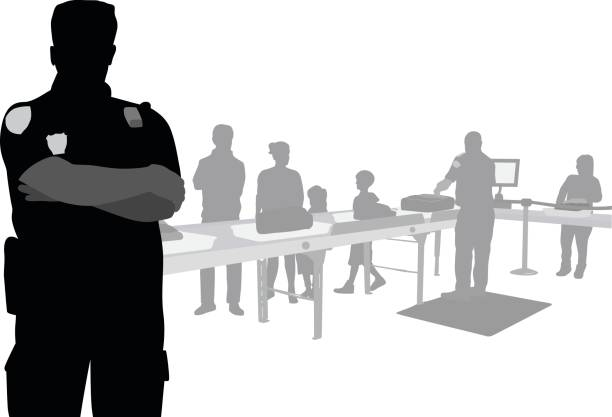 Airport Customs Silhouette vector illustration of a security worker at an airport security checkpoint airport silhouettes stock illustrations