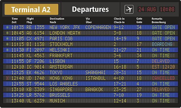 illustrazioni stock, clip art, cartoni animati e icone di tendenza di scheda aeroporto di partenza - illustrazioni su destinazioni di viaggio